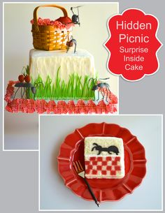 Surprise Inside Picnic complete with ants and a checkerboard tablecloth! Edible candy melts grass blades (delicious, by the way) on snow white textured buttercream. Non edible basket and bug decorations.