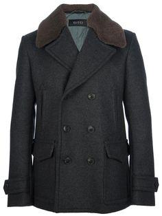 Gucci shearling collar peacoat on Wantering   Winter Trends for Men   Shearling   mens shearling collared peacoat   menswear   mens style   mens fashion   wantering http://www.wantering.com/mens-clothing-item/shearling-collar-peacoat/adbQm/