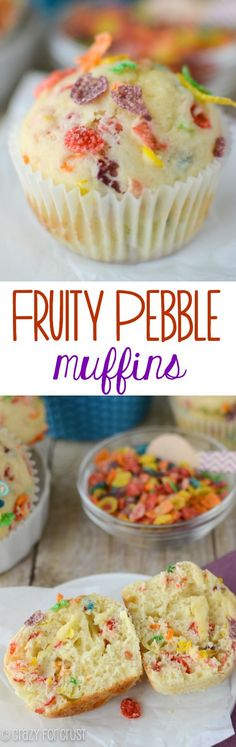 Fruity Pebble Muffins – an easy muffin recipe your kids will LOVE! Fruity Pebble Muffins – an easy muffin recipe your kids will LOVE! Köstliche Desserts, Delicious Desserts, Dessert Recipes, Yummy Food, Plated Desserts, Brunch Recipes, Tasty, Cupcakes, Cupcake Cakes