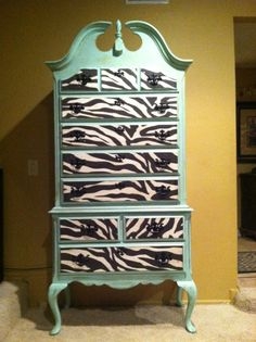 Vintage Queen Anne Dresser in Mint Green The Not Too Shabby