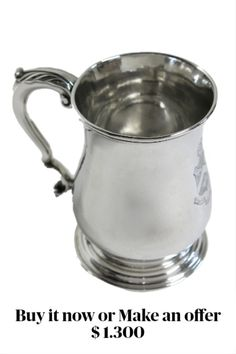 Mug weighs 312 grams = 10 troy oz = 10.97 regular ounces. 4.35″ high.  3″ diameter at top.  4.5″ max-width over the handle. Foot is 3.25″ diameter. A GEORGE II PLAIN BALUSTER SILVER #MUG, MAKER'S MARK PROBABLY THAT OF JOSEPH STEWARD, LONDON, 1759, ON CIRCULAR SPREADING FOOT, WITH LEAF-CAPPED SCROLL HANDLE. THE FRONT OF THE MUG WITH A BEAUTIFUL HAND ENGRAVED ARMORIAL, AND THE LATIN MOTTO 'VIRTUS VINCIT IVIDIAM' = VIRTUE CONQUERS VICE.