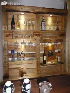 Beautiful Lit Pallet Liquor / Stemware Shelf DIY Pallet Bars
