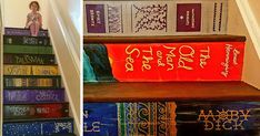 Woman Paints Staircase With Her Favorite Book Covers | Bored Panda