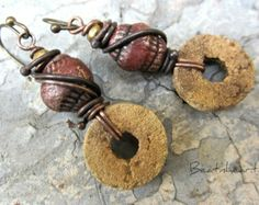 fossils. artisan earrings handmade beads crinoid fossils copper wire wrapped chunky rustic earrings