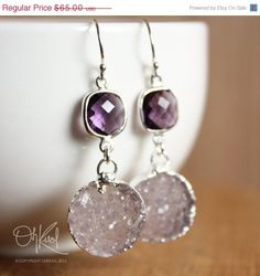 Light Lavender Druzy and Purple Amethyst Earrings - Sterling Silver - Lilac Sparkles