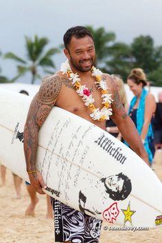 Sunny Garcia at the ceremony for the Eddie Aikau big wave surfing invitational at Waimea Bay, Oahu.