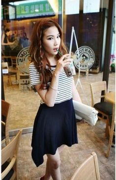 Navy Blue and White Striped Short Sleeves Top Combined Korean Stylish Skirt 1
