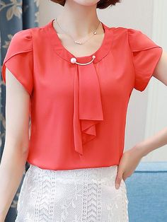 Buy Round Neck Beading Plain Petal Sleeve Blouse online with cheap prices and discover fashion T-shirts & Blouses,Blouses,T-shirts Cheap Blouses, Shirt Blouses, Blouses For Women, Blouse Styles, Blouse Designs, Top Chic, Sewing Blouses, Petal Sleeve, Mode Hijab
