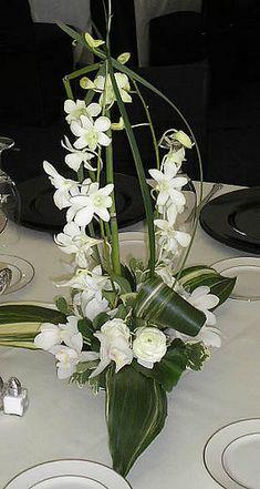 Dendrobium Orchid & Aspidistra centerpiece #RoseOfSharon