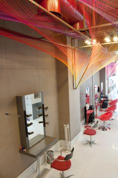 wool thread installation - Ambika Pillai Designer Salons by RLDA