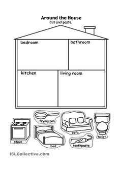 Parts of the house - English ESL Worksheets for distance learning and physical classrooms English Worksheets For Kindergarten, Printable Preschool Worksheets, English Activities, Kindergarten Activities, Toddler Worksheets, Preschool Age, Free Preschool, Learning English For Kids, Kids English