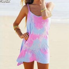 Summer Style Beach Vestidos 2016 Sexy Women Dress Casual Spaghetti Strap Colorful Tie Dye Loose Mini T-shirt Dresses Plus Size