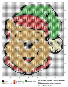 Winnie the Pooh x-stitch Christmas Plastic Canvas Ornaments, Plastic Canvas Christmas, Plastic Canvas Crafts, Plastic Canvas Patterns, Winnie The Pooh Christmas, Winnie The Pooh Friends, Disney Christmas, Christmas Cartoon Characters, Christmas Cartoons