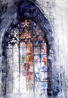 stained glass watercolor Maja Wronska Witraz does stained glass so creatively, in that it admits the difficulty in truly capturing the different colors glass shows in light, and applies the randomness of paint to the piece to capture this movement. Art Aquarelle, Art Watercolor, Watercolor Flowers, Art Et Architecture, Watercolor Architecture, Fine Art, Painting Inspiration, Painting & Drawing, Amazing Art
