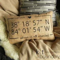 Personalized Map Coordinates Burlap Pillow  Love by ktboundary24, $28.00