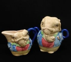 Elephant Sugar Creamer Set Comic Figural Multi Colored Glazed Unglazed Combo | eBay