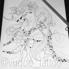 Up coming Project in the works. Looking forward to this one! Geisha Drawing, Hanya Tattoo, Tattoo Japanese, Asian Tattoos, Japan Tattoo, Samurai Tattoo, Japanese Geisha, Snake Tattoo, Irezumi