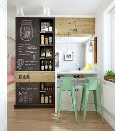 I love the feel of this. The composition. Consider painting the wall next to the fridge with chalkboard paint over magnetic primer as a message and doodle center for chalkboard markers. The band of wood is nice to break it up.