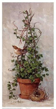 Spring Nesting II, Art Print by Barbara Mock Decoupage, Images Vintage, Pintura Country, Flower Pots, Flowers, Little Birds, Bird Art, Garden Art, Flower Arrangements