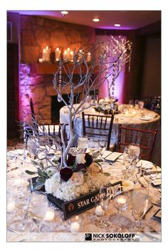 Ski themed reception. tables are named after ski runs. I'm not a fan of this centerpiece, but I like the idea of using ski slope names as table numbers.