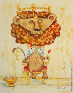 Царь зверей ( батик панно) - бежевый,царь,лев,картина,Батик,панно на стену