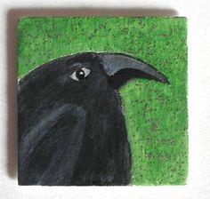 RABE von Herbivore11 Inchie Magnet Raben Minibild Kühlschrankmagnet Crow Raven