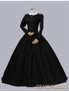 Black Cotton Gothic Victorian Queen Victoria Day Costume