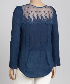 Look what I found on #zulily! Teal Lace-Yoke Peasant Top - Plus by Blu Pepper #zulilyfinds