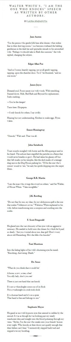 """Walter White's """"I am the one who knocks"""" speech as written by other authors.  #BrBa"""