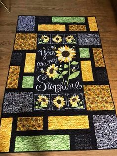 Sunshine panel made into table runner Fabric Panel Quilts, Lap Quilts, Mini Quilts, Quilt Blocks Easy, Quilt Block Patterns, Quilting Projects, Quilting Designs, Quilting Ideas, Sunflower Quilts