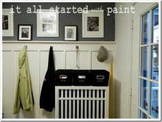 mud room love the paint color and family picture area