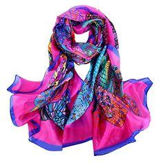 Smarstar Fashion Foulard Echarpe - Chiffon Soie pour Femme Fille 180 110cm-  Beaucoup 3fcf3323bcb