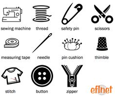 Sewing - Picture Vocabulary Worksheet 1 | EFLnet