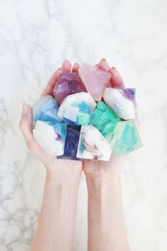 Make your own luxurious gemstone soaps with this DIY!