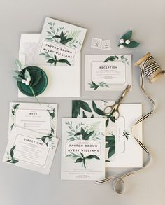 Elegant gray garden inspired wedding. Greenery and botanicals. Botanical Name Plate Wedding Invitation by Shiny Penny Studio.