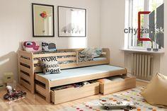 Postele s prístelkou | KOBI vyvýšená posteľ s prístelkou a úložným priestorom - borovica | Chyza.sk | detské postele, manželské drevené postele, masívny nábytok