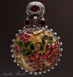 Wine Country Lampwork Bead Pendant, Sterling Silver Wire Wrapped with Garnet Briolettes and Hand Crafted Fine Silver Bail (PMC) with Large Amethyst Cubic Zirconia by Lydia Muell.