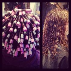 Spiral Perm On Purple And White Rods