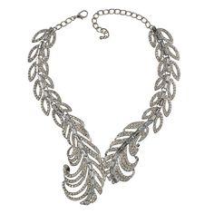 New Fashion Silver Necklace Dazzling Rhinestone Jewelry Leaf Personalized Necklace
