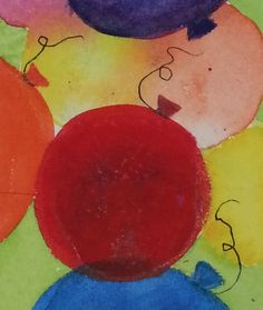 """Party Balloons 1"" watercolour by Rosie Kerr. Sold"