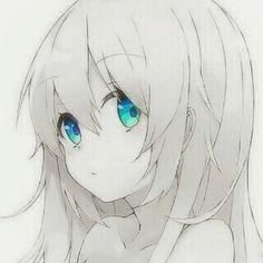 Monochrome Anime Girl with blue eyes