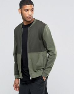 ASOS Jersey Bomber Jacket With Cut & Sew In Khaki