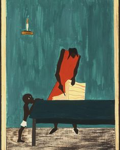 Jacob Lawrence : 'In many places, because of the war, food had doubled in price'. From the 'Migration' series (1940-41)