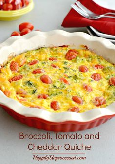 Farm fresh organic eggs, cream and milk, broccoli, sweet red peppers, grape tomatoes and cheese make the perfect pair for this crustless quiche.