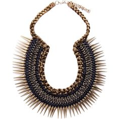 Pull & Bear Short Braided Spike Necklace (65 BRL) ❤ liked on Polyvore featuring jewelry, necklaces, accessories, bijoux, collar, khaki, woven necklace, spike collar necklace, spike necklace and braid jewelry