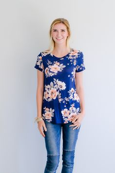 Olive Ave - Floral Caitlin Top- Navy , $24.99…