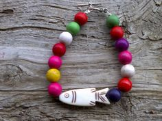 Bone fishmagnesite beaded bracelet 7 1/2 inch by windinhishare, $6.99