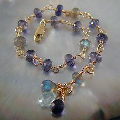 Lovely labradorite and iolite linked bracelet.