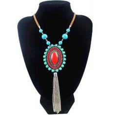 Retro Ellipse Turquoise Tassel Necklace For Women