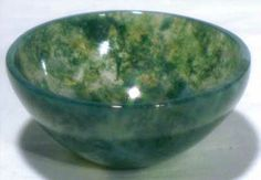Magickal Ritual Sacred Tools:  Moss Agate Offering Bowl.